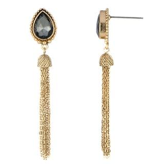 Grey Pear Cut Tassle Dangle Earrings