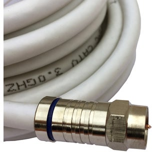 Black Point Products Inc BS-050-WHITE 12-foot White RG-6 Weatherproof Coaxial F Cable