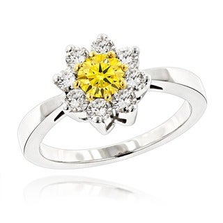 Luxurman 14k Gold 1 1/5ct TDW White and Yellow Diamond Daisy Cluster Ring
