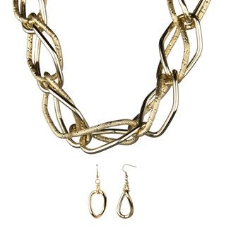 Brass Goldtone Looped Statement Necklace and Earrings Set