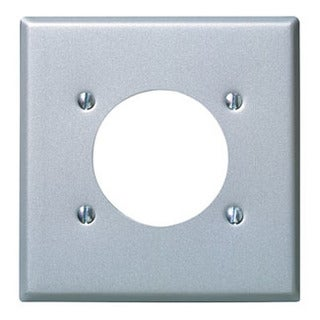 Leviton 001-4934 Two Gang Aluminum Finish Power Outlet Receptacle Wallplate