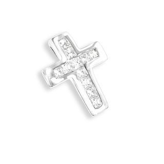 Luxurman 14k Gold 1/5ct TDW Princess-cut Diamond Small Cross Pendant (H-I, SI1-SI2)
