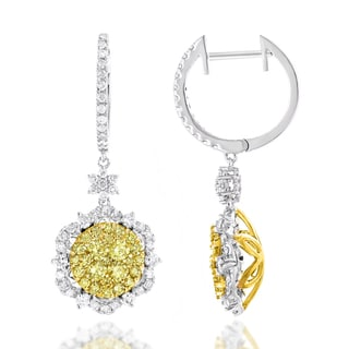 Luxurman 14k Gold 2 1/2ct TDW White Yellow Diamond Flower Earrings (G-H, VS1-VS2)