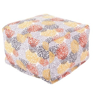 Majestic Home Goods Citrus Blooms Ottoman Outdoor Indoor