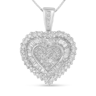 10k White Gold 1ct TDW Multi-cut 1ct TDW Diamond Heart Pendant (H-I, I1-I2)