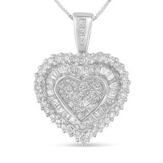 10k White Gold 1ct TDW Multi-cut 1ct TDW Diamond Heart Pendant Necklace (H-I, I1-I2)