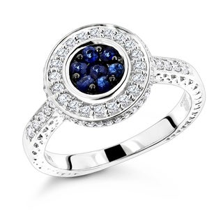 Luxurman 14k White Gold 1/2ct Diamond and Blue Sapphire Engagement Ring (G-H, VS-SI )