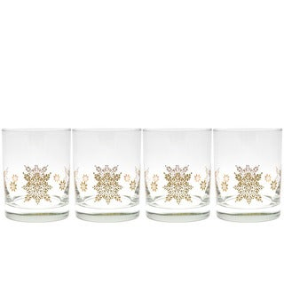 Culver Resplendent 22k Gold Set of 4 14-ounce Double Old-Fashioned Glasses