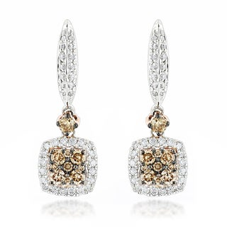 Luxurman 14k Two-tone Gold 1 1/10ct TDW White and Champagne Diamond Drop Earrings (G-H, VS1-VS2)