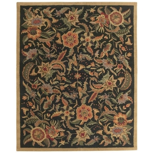 Hand-tufted Paradise Black/ Multi-color Wool Rug (8' x 11) - 8' x 11'