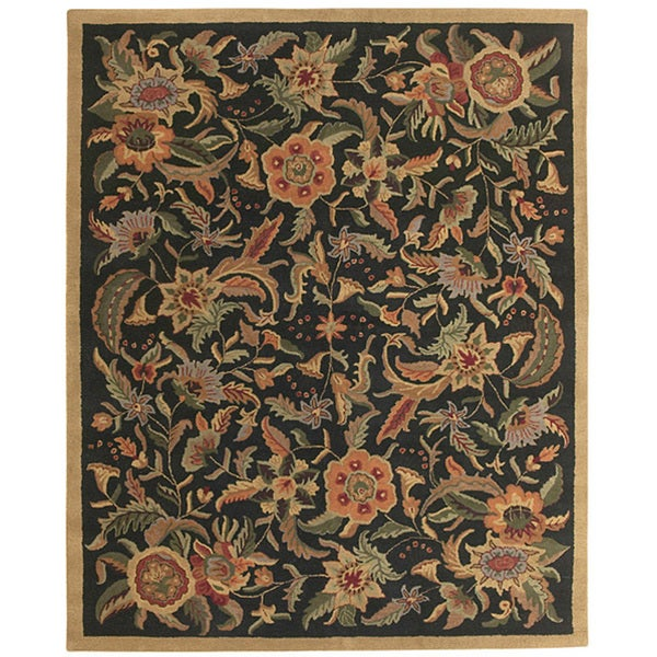 Hand-tufted Paradise Black/ Multi-color Wool Rug (8' x 11)