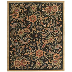 Hand-tufted Paradise Black/ Multi-color Wool Rug (8' x 11)