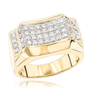 Luxurman 14k Yellow Gold Men's 1ct TDW Diamond Ring Wedding Band (G-H, VS-SI)