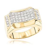 Luxurman 14k Yellow Gold Men's 1ct TDW Diamond Ring Wedding Band