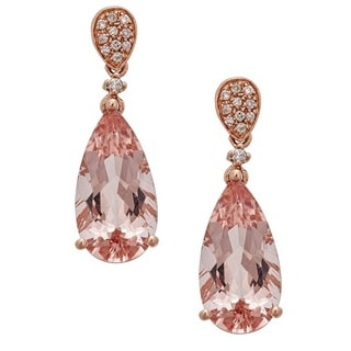 Anika and August 14k Rose Gold Pear-cut Mozambique Morganite and 1/6ct TDW Diamond Earrings (G-H, I1-I2)