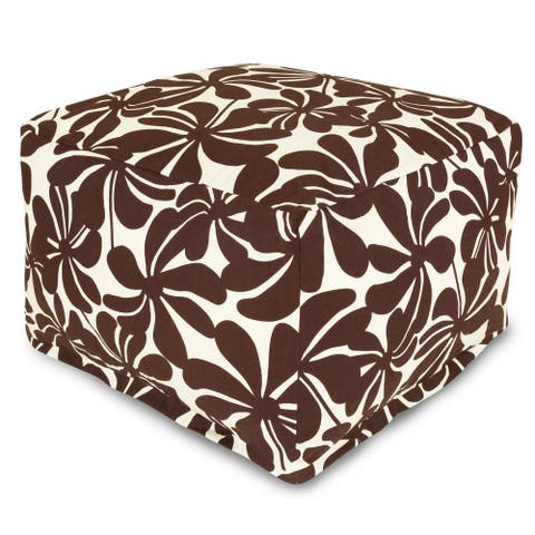Majestic Home Goods Indoor Outdoor Plantation Ottoman Pouf 27 in L x 27 in W x 17 in H
