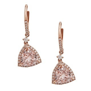 Anika and August 14k Rose Gold Trillion-cut Mozambique Morganite and 1/2ct TDW Diamond Earrings (G-H, I1-I2)
