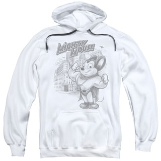 Mighty Mouse/Protect And Serve Adult Pull-Over Hoodie in White