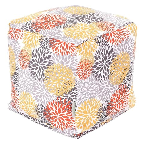 Majestic Home Goods Citrus Blooms Indoor / Outdoor Ottoman Pouf Cube