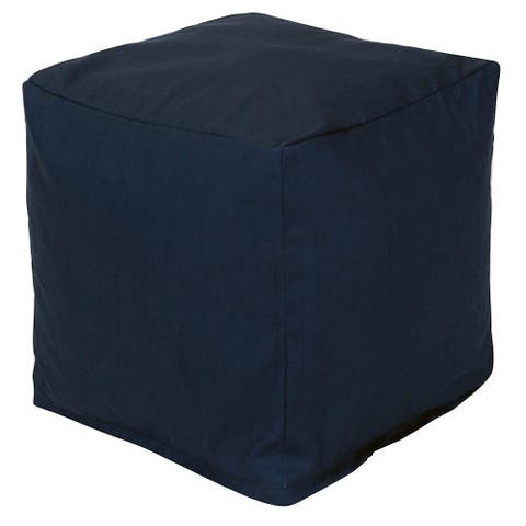 Majestic Home Goods Navy Blue Solid Indoor / Outdoor Ottoman Pouf Cube