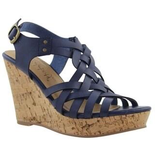 Celebrity NYC Women's Grace Blue, Black or Tan Faux Suede Wedge Sandal