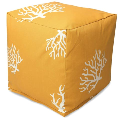 Majestic Home Goods Coral Indoor / Outdoor Ottoman Pouf Cube