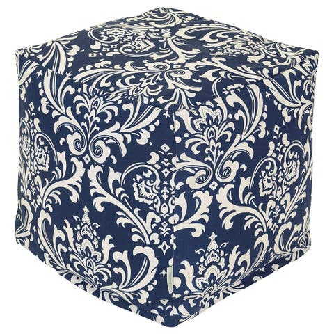 Majestic Home Goods Navy Blue French Quarter Indoor / Outdoor Ottoman Pouf Cube