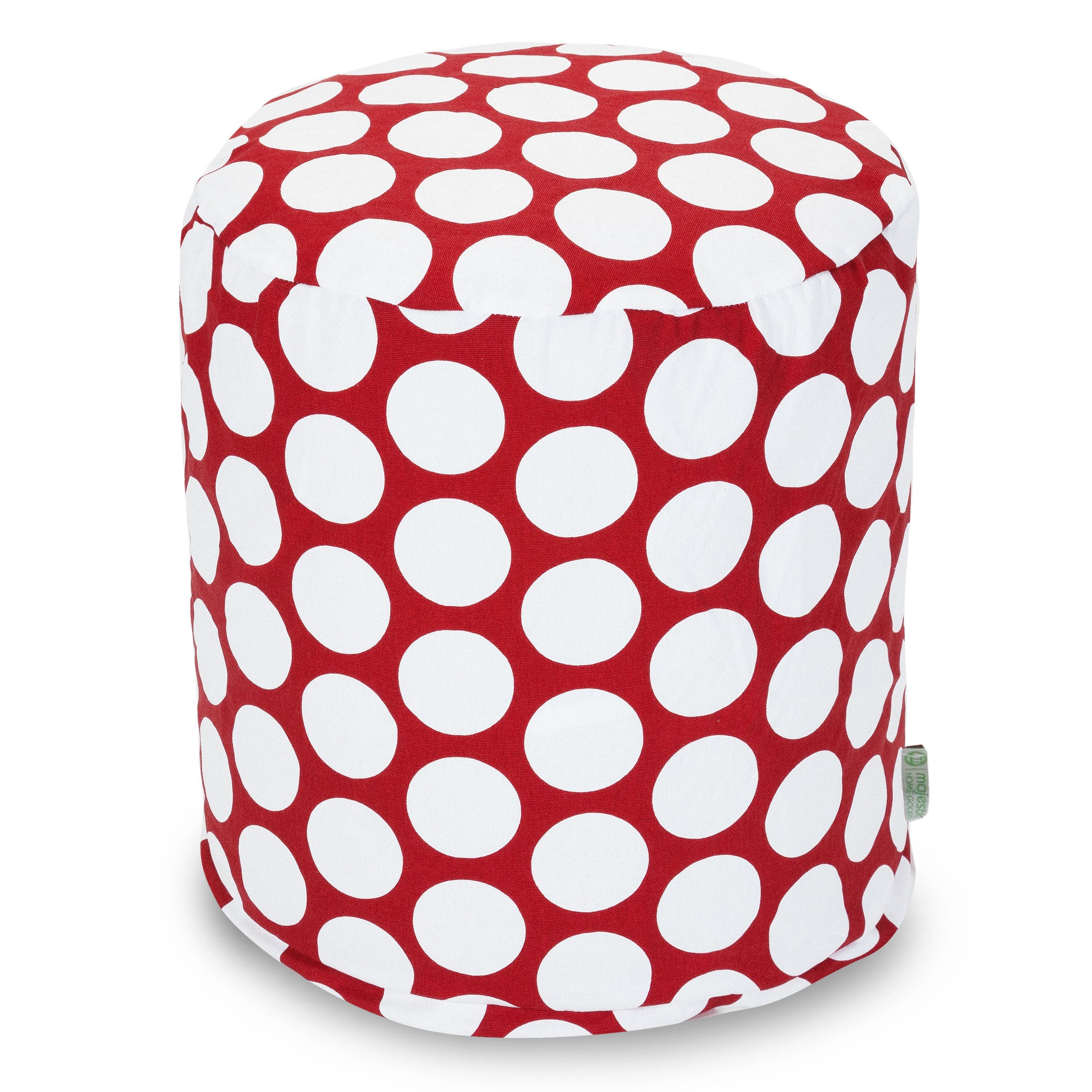 Majestic Home Goods Large Polka Dot Pouf (Red), Size Medi...