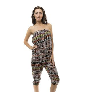 Soho Women Colorful Sleeveless Elastic Waist Geometric Tribal Romper