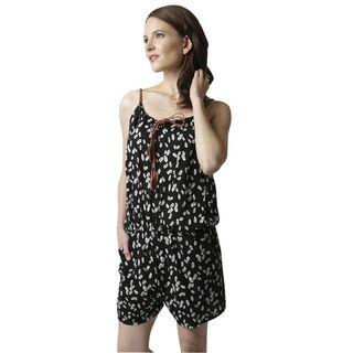 Soho Women Black Sleeveless Elastic Waist Leaf Print Romper