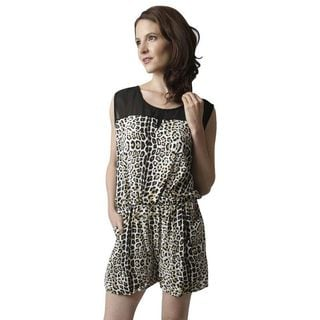 Soho Women Black/ Brown Sleeveless Elastic Waist Leopard Print Romper