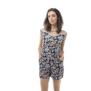 Soho Women Blue Sleeveless Elastic Waist Malay Floral Romper