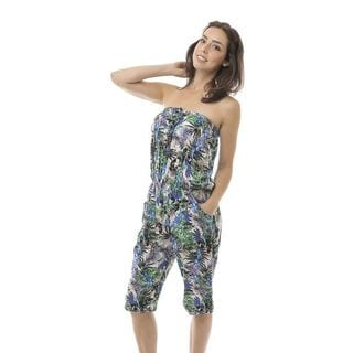 Soho Women Blue Sleeveless Elastic Waist Printed Tropical Romper