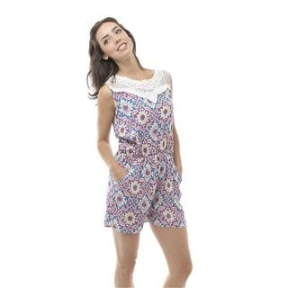 Soho Women Purple Sleeveless Elastic Waist Tribal Pastel Romper