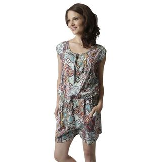 Soho Women Green Sleeveless Elastic Waist Tribe Printed Romper