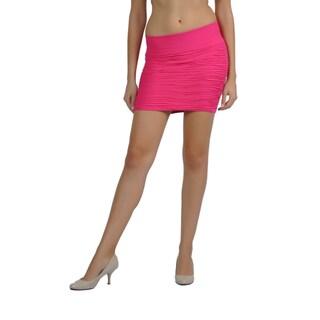 Soho Women One Size Textured Pintucked Mini Skirt