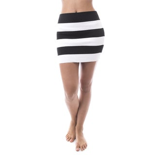 Soho Women Striped Bandage Mini Skirt