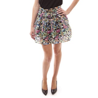 Soho Women Orchid/ Peony/ Tribal Print Pleated Bandage Skirt