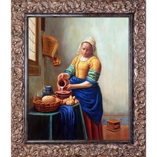 Johannes Vermeer 'The Milkmaid' Hand Painted Framed Canvas Art