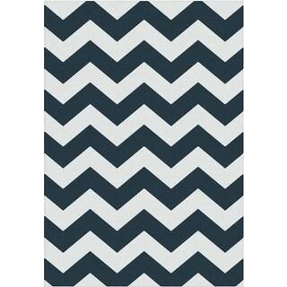 York Collection Navy Blue Cream Contemporary Chevron Design Area Rug (5'3 x 7'3)