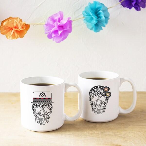 His Hers Sugar Skull White Cermaic 20 Ounce Coffee Mug Set