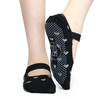 DG Sports Women's Black Cotton Mary Jane Socks With Grips