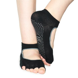 DG Sports Women's Black Yoga 2-pack Small/Medium Mary Jane Open-toe Ankle Socks