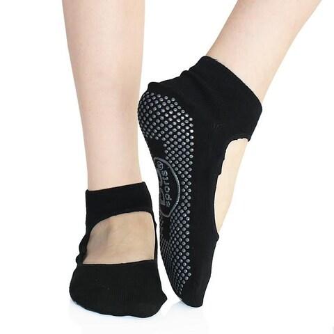 DG Sports Women's Yoga Mary Jane Socks With Grips S/M Non-slip Ankle Socks Black 2-Pack
