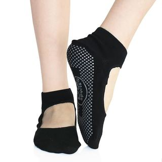 DG Sports Women's Yoga Mary Jane Socks With Grips S/M Non-slip Ankle Socks Black 2-Pack