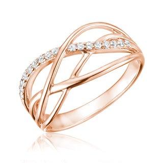 10k Gold 1/6ct TDW Diamond Swirl Ring Size 6.5