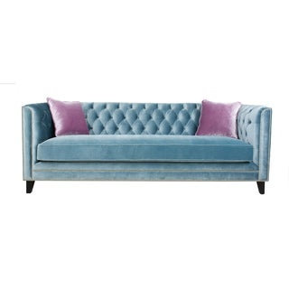 Pasargad Victoria Collection Grey Velvet Sofa with Lavender pillows