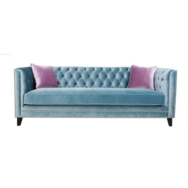 Pasargad Victoria Collection Grey Velvet Sofa With Lavender Pillows