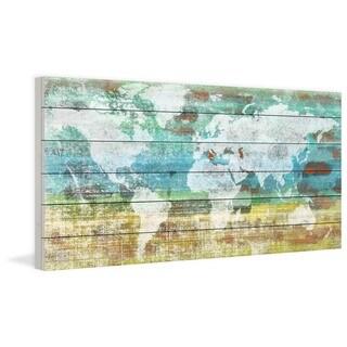 Parvez Taj 'Aqua Day' Print on White Wood (2 options available)