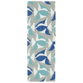 Indoor/Outdoor Beachcomber Seafish Blue Rug (2' x 6')